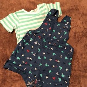 Other - One piece short overalls with matching tee shirt